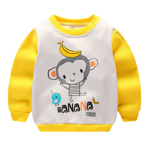 2018 Newborn Baby Sweatshirt Yellow Long Sleeve Cartoon Tops Outwear Toddler Hoodies Winter Babies Autumn Warm Baby Clothing