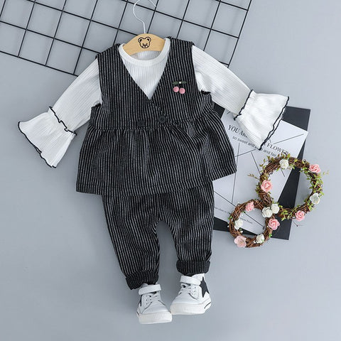 2018 Newborn Clothes Official Store Baby Girl Children's Clothing 0-3 Years Old Autumn British Style Pinstripes Three-piece