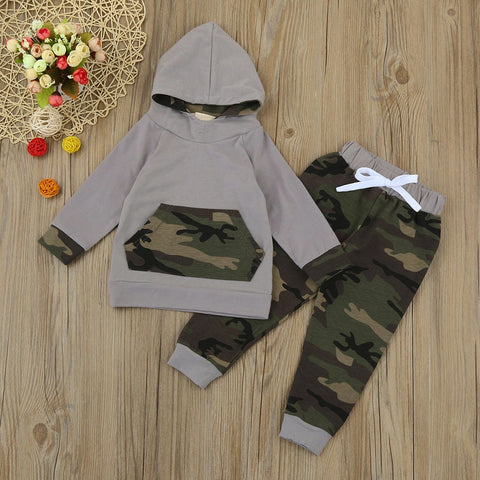 fc12e1a6ae38 2018 Newborn Infant Baby Boy Girl Clothes Design Camouflage Hooded Top T  shirt Pants 2pcs Outfits Toddler Kids Clothing Set