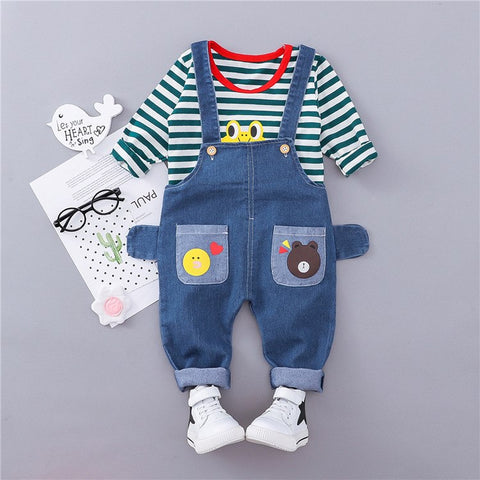 2018 Rushed Newborn Clothes Official Store Boys And Girls Autumn Outfit Set 0-3 Years Old Infant Striped Bib Two-piece