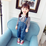 2018 Sale New Fashion Cotton Dobby Full Store Baby Girl Autumn Two-piece 0-3 Year Old Navy Style Overalls Set