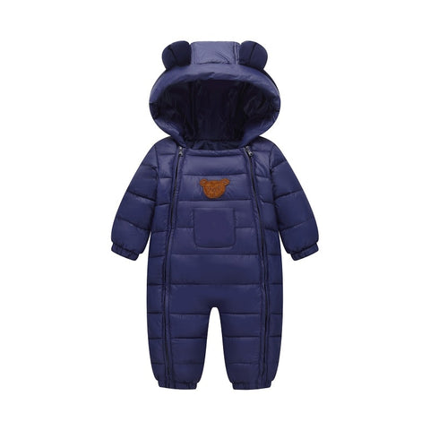 2018 Snowsuit Baby Snow wear Cotton Padded One Piece Warm Outerwear Kid's Overalls Romper Kids Winter Jumpsuit Newborn Parkas