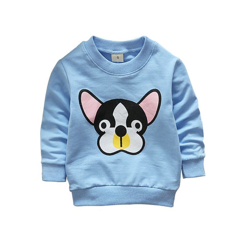 2018 Spring Autumn Children Hoodies Solid Boy Girl Sweatshirts Cartoon Dogs Long Sleeve Cotton Crew Neck Sweatshirts Blouse