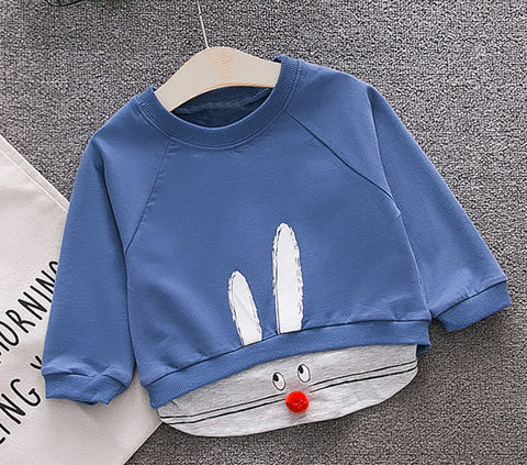 2018 Spring Baby Children Clothing Boys Girls Casual Infants Rabbit Cartoon Pullover Cotton Long Sleeve T-shirt Tops Tee S6200