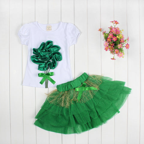 2018 Summer Baby Girls Clothing Set Flower Tops And Kids Tutu Skirts 2Pcs Set Newborn Baby Girl Clothes Set Infant Sport Suit