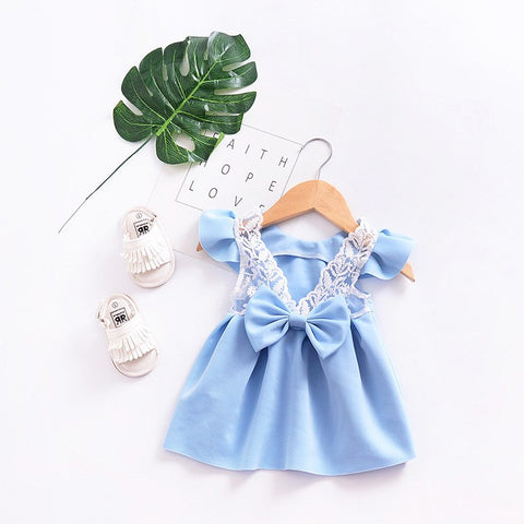 2018 Summer New Baby Flying Sleeves Princess Bow Dress And Girl's Party Girl Children's Clothing European And American Style