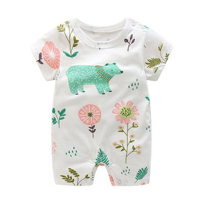 2018 Summer New Style Short Sleeved Girls Dress Baby Romper Cotton Newborn Body Suit Baby Pajama Boys Animal Monkey Rompers