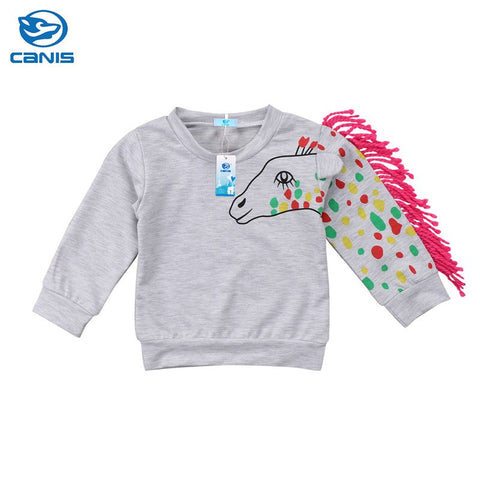 2018 Super Cool Kids Baby Boy Girls Unicorn Print Long Sleeve Sweatshirt Hoodies Pullover Blouse Tops Cute Sport Tassel Clothes