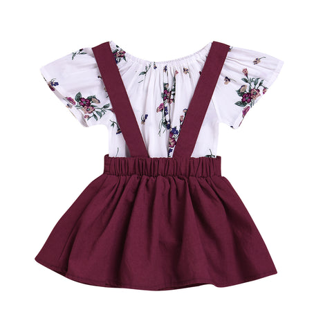 2018 Toddler Kids Baby Girls Floral Romper +Suspender Skirt Overalls 2PCS Outfits Baby Clothing