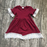 2018 new girl kids clothing cotton 5 colors dress lace ruffle Summer baby kids wear girls clothes maxi dress solid short sleeve
