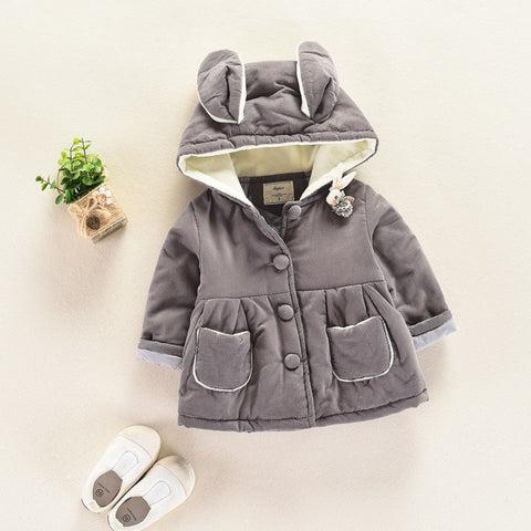 2018 new winter cotton clothing rabbit ears children thick warm wool coat for girls jacket kids hooded mantle baby girl clothes