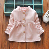 2018 spring Children Roupas Ruffles Girls Jackets Cardigan Baby kids Infants Cotton Long Sleeve Bow Outwear Coat Casaco C033