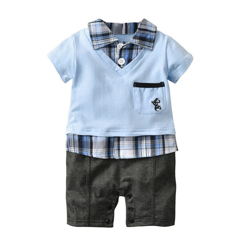 2018 summer baby boy clothes short-sleeved baby romper fresh gentleman clothes overalls newborn clothes infant toddler outfitsP5