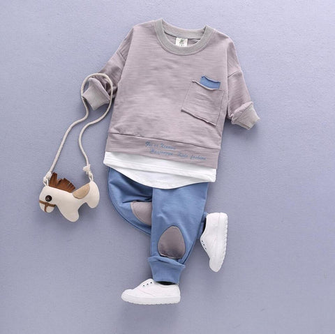 2PC Toddler Baby Boys Clothes Outfit Infant Boy Kids Shirt Tops+Pants Casual Clothing Spring/Autumn Children Clothing Set Cotton