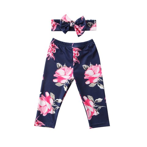 2Pcs Newborn Kids Baby Girls Clothes Flowers Bottom Harem PP Leggings Pants Trousers Headband Outfits