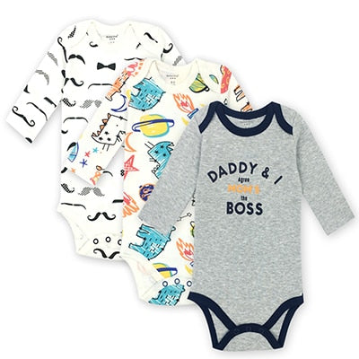 3 pieces/lot 100% Cotton Baby Bodysuit Newborn Cotton Body Baby Long Sleeve Underwear Infant Boys Girls Clothes Baby's Sets