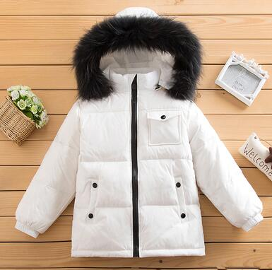 '-30 2018 winter boys snow Big Fur Coll Hooded Down & Parkas Boy Warm Jackets Girls Outdoor 90% White Duck Down Coats