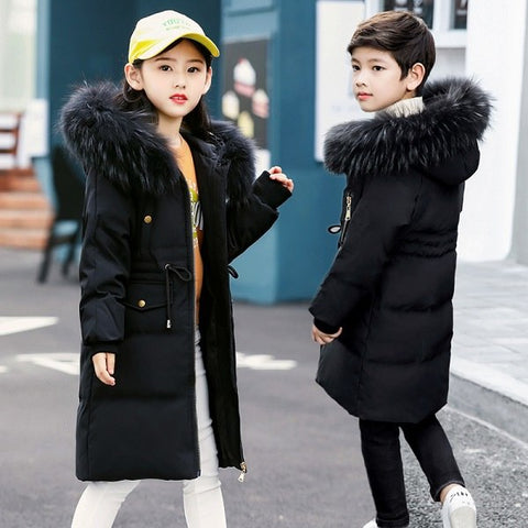 '-30 Degree Girls Thick Warm Down Jackets Winter Boys Duck Down Coats Children Big Fur Hooded Long Outerwe 5 6 8 10 12 14 Years