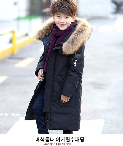 '-30 Degree High Quality Boy's clothing Children winter Down jacket for boys parka real Natural Fur hood Long Co Kids Clothes