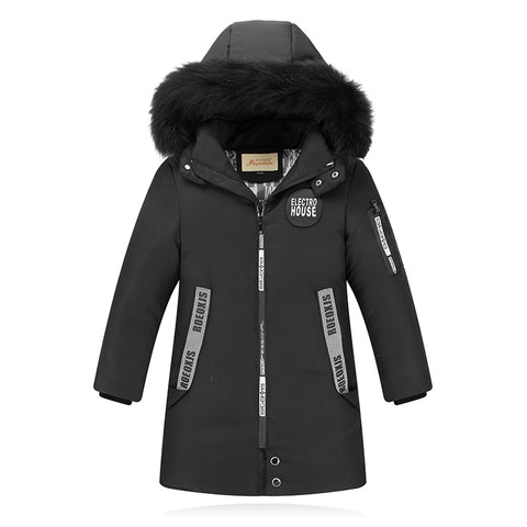 '-30 Degree High Quality New Boy's Long Down Jackets For Youth Children big Boy clothing Winter Parka real Fur Co Kids Clothes