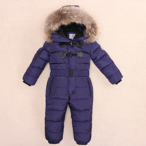 '-30 Degree Outdoor We Kids Ski Suit Children Down Rompers parka real Fur Hood Warm Boys Girl clothes Winter Jumpsuits 2-7Years