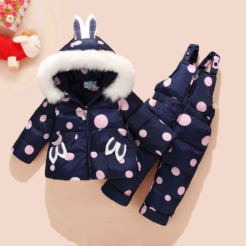 '-30 Degree Russia Winter Children's Snowsuit Kids Clothing Sets Girls Duck Down Jackets Co +pants Snow We Warm Parka Overall