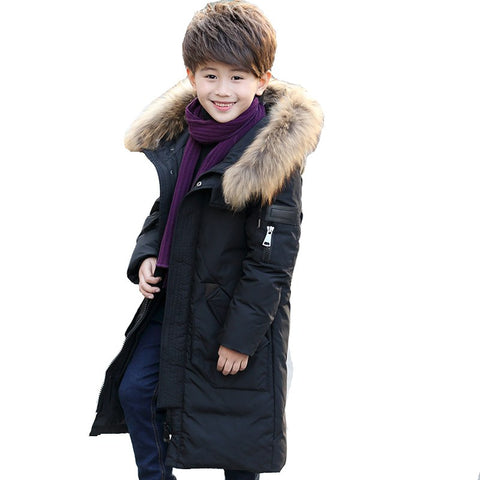 '-30 Degree Thick Warm Down Jackets Winter 12 Years Boys Duck Down Coats Children Natural Fur Long Outerwe Kids Hooded Clothes