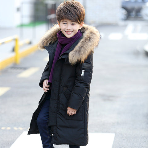 '-30 Degree Thick Warm Down Jackets Winter Boys And Girls Duck Down Coats Children Natural Fur Long Outerwe Kids Hooded Clothes