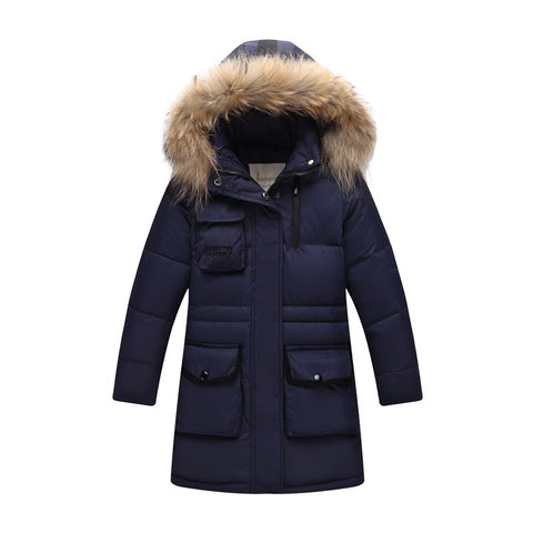 '-30 Degree Thick Warm Duck Down Jackets Winter Boys Coats Children parka real Natural Fur clothing Outerwe Kids Hooded Clothes