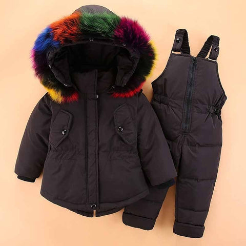 '-30 Degree winter girls Parkas Down Jackets Coats baby girl boys clothes kids real Fur snow we ski suit children clothing Sets