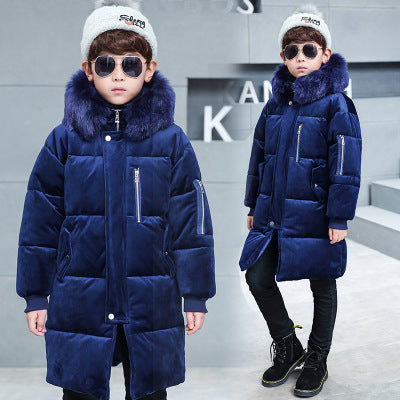 '-30 Russian 2018 Boy Cold Winter Big Fur Coll Jacket Kids Hooded Outerwear&Coats Children Thickened Jackets Warm Cotton Parkas