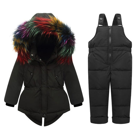 '-30 degree New Russia Winter children's clothing setS baby ski suit girl clothes boys parka real fur down jackets co snow wear