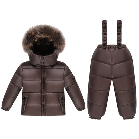 '-30 degree winter 90% down jacket for baby we girl clothes children clothing sets new ye boy parka real fur Plus velvet coat