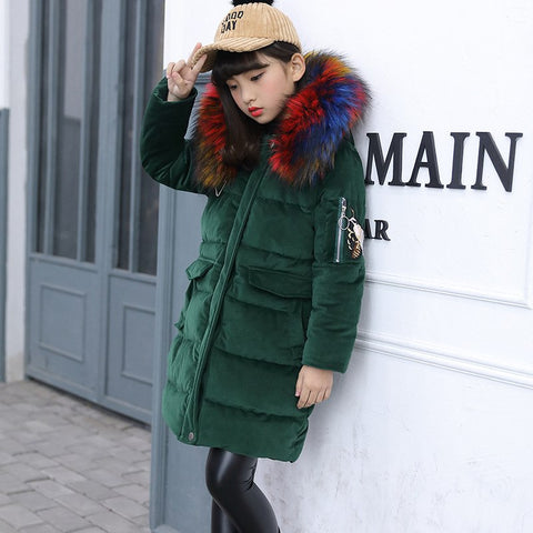 '-30 degrees Russia Winter down cotton Jacket Girl Hooded Colored Fur Coll Co Child Clothes Thick warm girls clothing parka