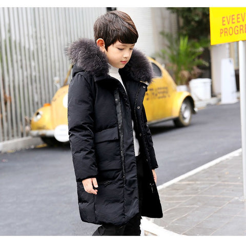 '-30Dgree Duck Down Children Winter Jacket Boy Winter Co Kids Warm Thick Fur Coll Hooded long down Coats For Teenage 4Y-14Y