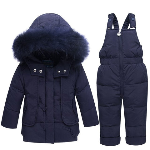 '-35 Degree 2018 Winter Warm Baby Duck Down Jacket for Boy Girl Children Clothing Set Co Kids Clothes Warm Fur Hooded Outerwear