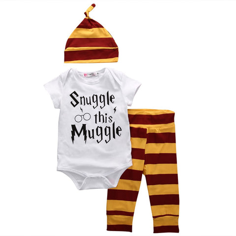 3PCS Baby Clothing Set Newborn Baby Boys Girls Letter Muggle Bodysuit/Tshirt+Stripe Pants+Hat Outfits Clothes 0-18M Super Cute