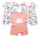 3PCS/LOT Baby Bodysuit Newborn Bebe Girl Clothing 100%Cotton  clothes Cute Cartoon Printed Romper Jumpsuit Climbing Clothes
