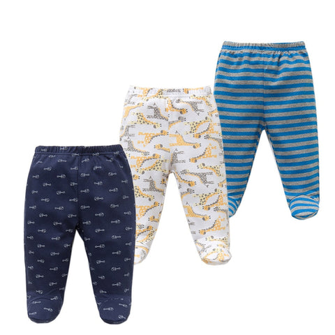 3PCS/lot Baby Pants 100% Cotton Autumn Spring Newborn Baby Boys Girls Trousers Kid Wear Infant Toddler Cartoon For Baby Clothing