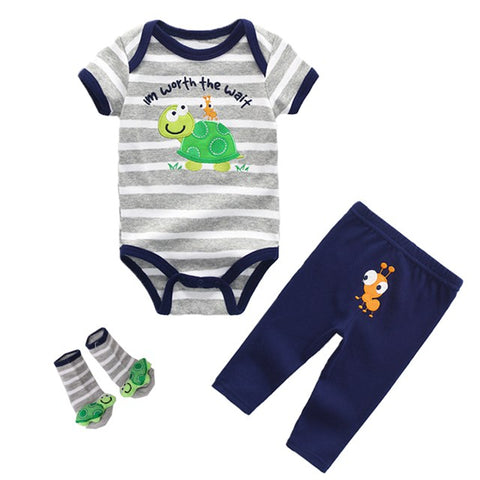3Pcs Baby Boys Gift Collection Sets Baby Clothing Set Baby Girl Summer Dress Rompers Bodysuits+Pants+Socks Infant Set 6-12 Month