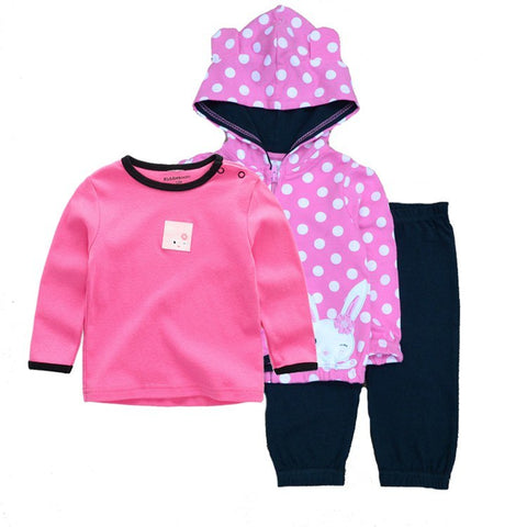 3Pcs/Set New Arrival Newborn Baby Clothing Boy Girl Dresses Unisex Clothes Cotton T-shirt+Pants+Coat Cartoon Infant for 12-24M