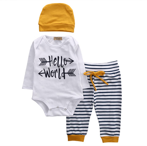 3Pcs Summer bulk Infant Baby Boy Romper Tops LONG sleeve hello world T-shirt+Pants +Beanie + Hats Outfit Set Clothes 3-18M