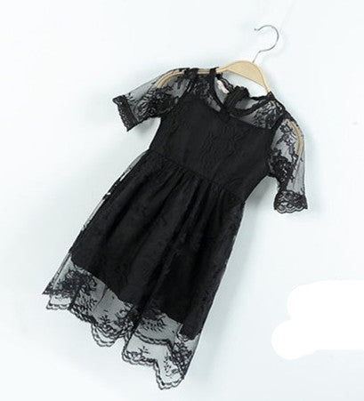3T to 9T kids girls fashion summer lace overlay tulle princess party dresses children new black white chiffon dress clothes