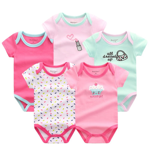 11c62a978f3c 5 PCS LOT Baby Rompers 2016 Summer Baby Clothing Set Cartoon Romper ...