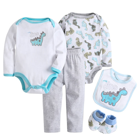 5 Pcs/set Baby Girl Clothes Bebe Bodysuit+Pant+Bib+Shoes 100% Cotton Baby Boy Clothes Newborn Bebe Clothing Sets CL022691083