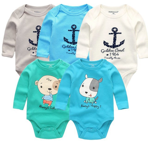 5pcs/ lot New Baby boys clothes sets Long Sleeves winter Novelty Newborn Overalls bodysuits Infant Clothing