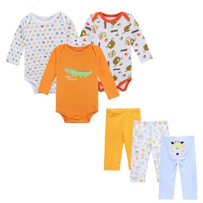 6 PCS /Lot Baby Boy Clothes NewBorn Toddler Infant 0-12 Autumn/Spring Baby Rompers+ Baby Pants Baby Clothing Sets