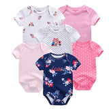 6 PCS/lot newborn baby bodysuits short sleevele baby clothes O-neck 0-12M baby Jumpsuit 100%Cotton baby clothing Infant sets