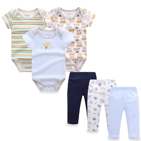 6 pieces/set Newborn Baby Boy Clothes Pants Roupa Infant Short Sleeve Baby Bodysuits Bebes Girls Jumpsuits Baby Clothing Sets
