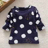 6M-24M Spring autumn Baby Girls Boys tShirt Long Sleeve Polka Dot Soft Toddler Kids Tops T-Shirt Warm baby O-neck clothes